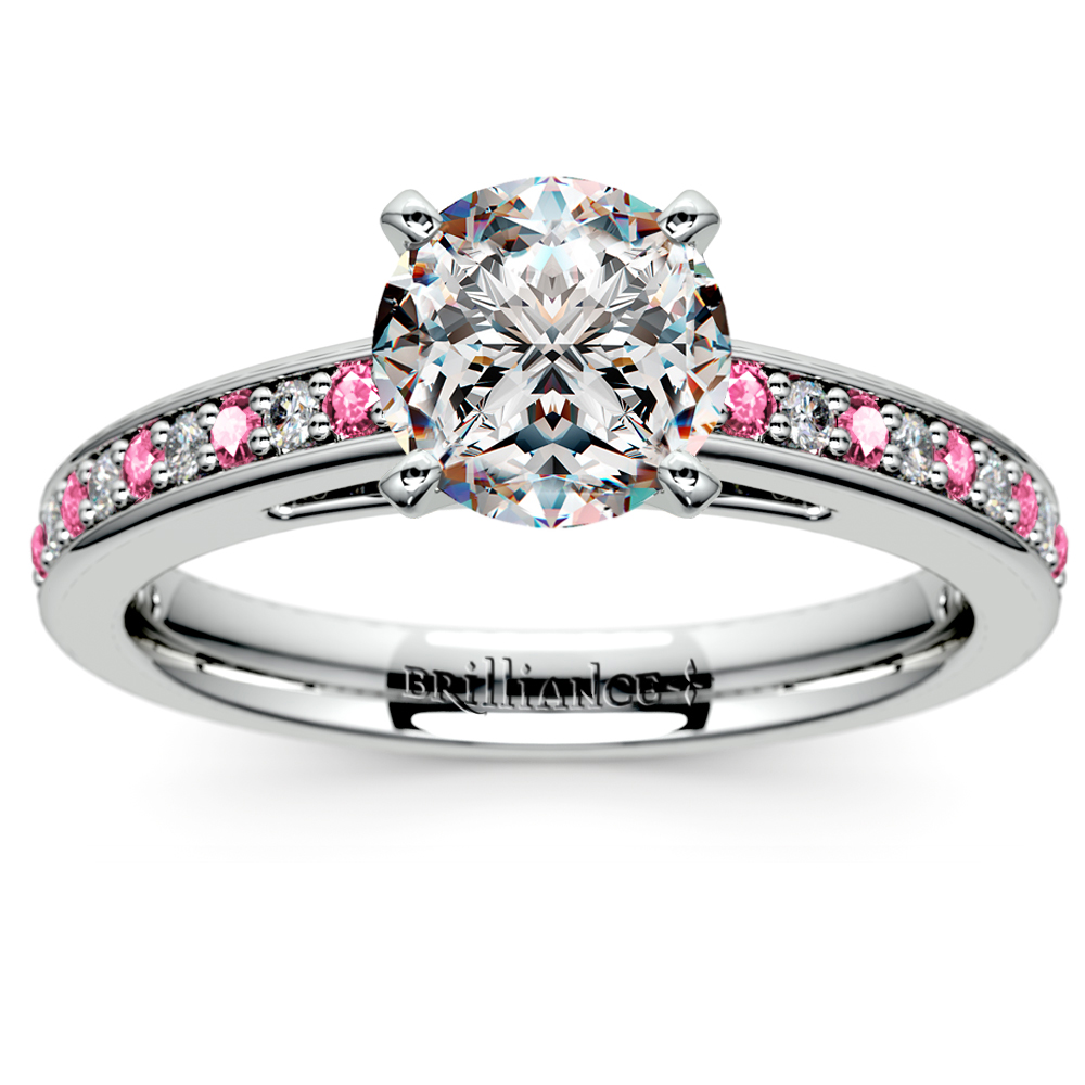 Cathedral Diamond Amp Pink Sapphire Gemstone Engagement Ring