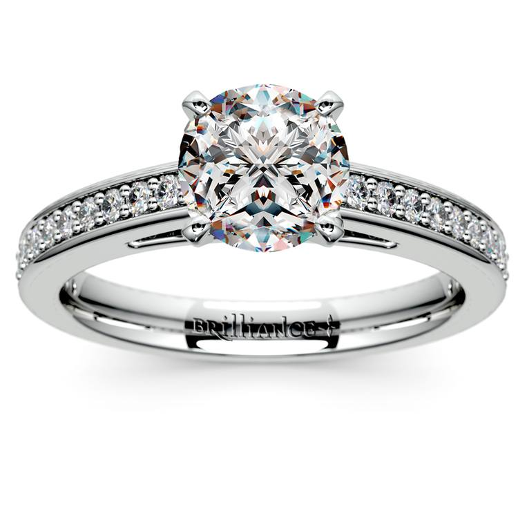 Cathedral Diamond Preset Engagement Ring in White Gold (1 1/4 ctw) | 02