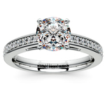 Cathedral Diamond Preset Engagement Ring in White Gold (1 ctw) | Thumbnail 02