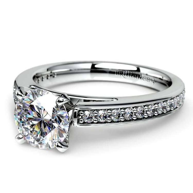 Cathedral Diamond Preset Engagement Ring in White Gold (3/4 ctw) | 01