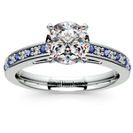 Cathedral Diamond & Sapphire Gemstone Engagement Ring in White Gold | Thumbnail 01
