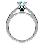 Cathedral Diamond & Sapphire Gemstone Engagement Ring in White Gold | Thumbnail 02