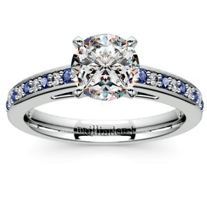Cathedral Diamond & Sapphire Gemstone Engagement Ring in White Gold