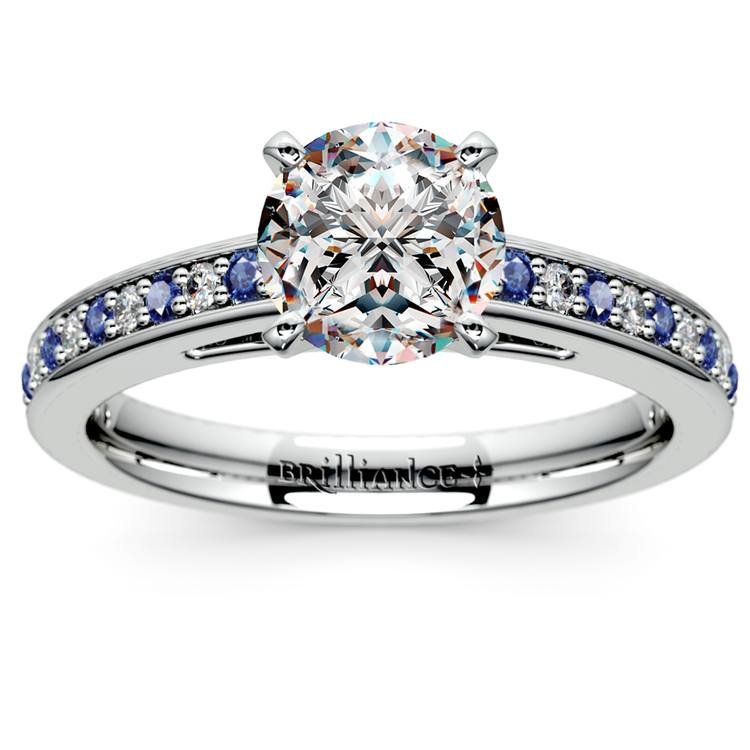Cathedral Diamond & Sapphire Gemstone Engagement Ring in White Gold | 01