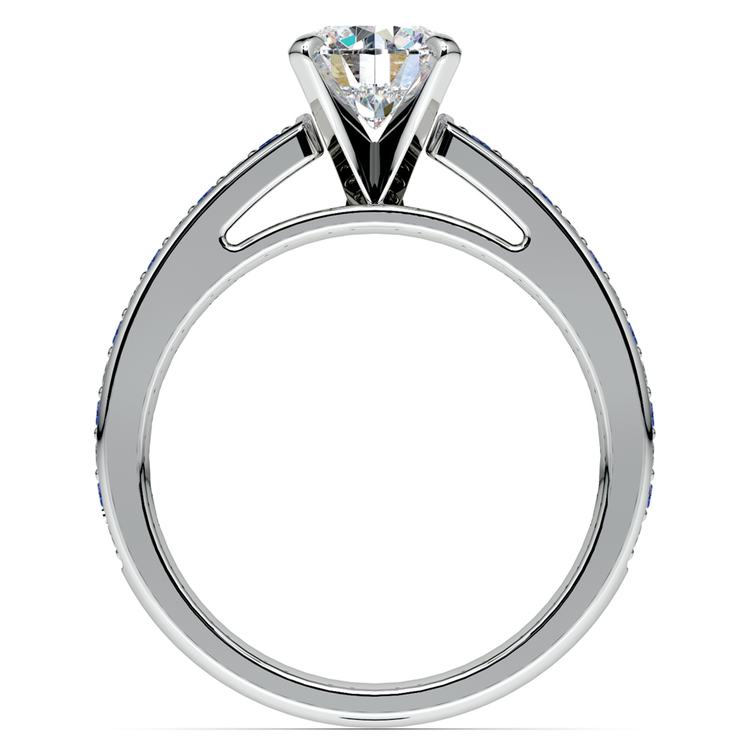 Cathedral Diamond & Sapphire Gemstone Engagement Ring in White Gold | 02