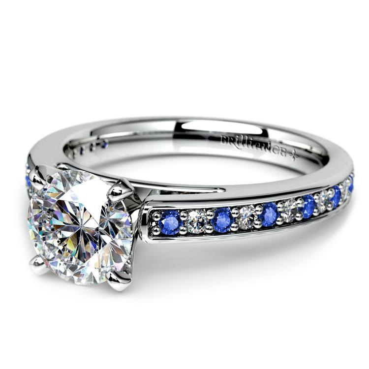Cathedral Diamond & Sapphire Gemstone Engagement Ring in White Gold | 04