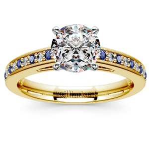 Cathedral Diamond & Sapphire Gemstone Engagement Ring in Yellow Gold