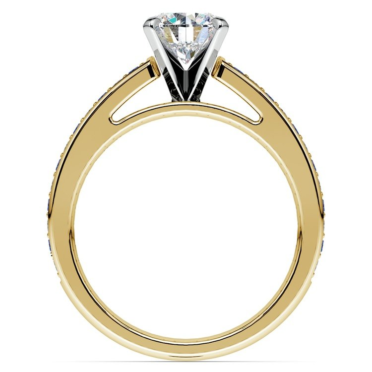 Cathedral Diamond & Sapphire Gemstone Engagement Ring in Yellow Gold | 02