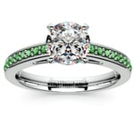 Cathedral Emerald Gemstone Engagement Ring in White Gold | Thumbnail 01