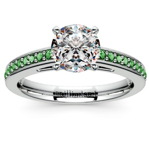 Cathedral Emerald Gemstone Engagement Ring in White Gold