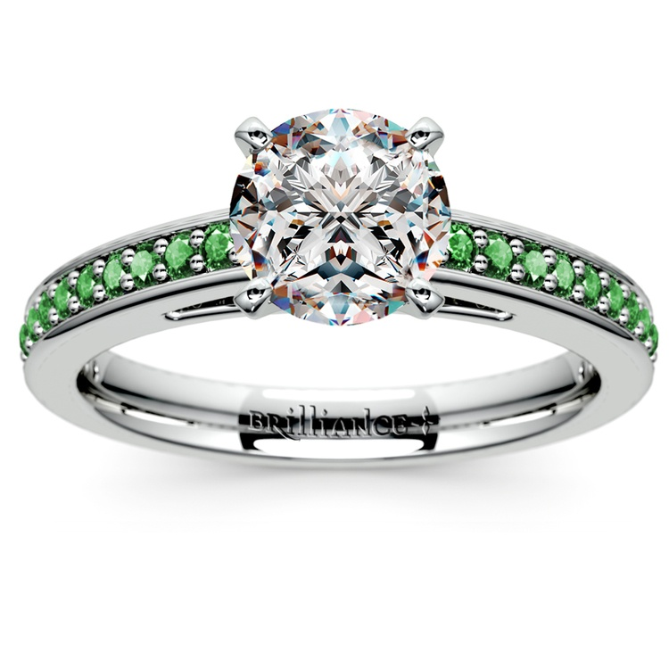 Cathedral Emerald Gemstone Engagement Ring in White Gold | 01