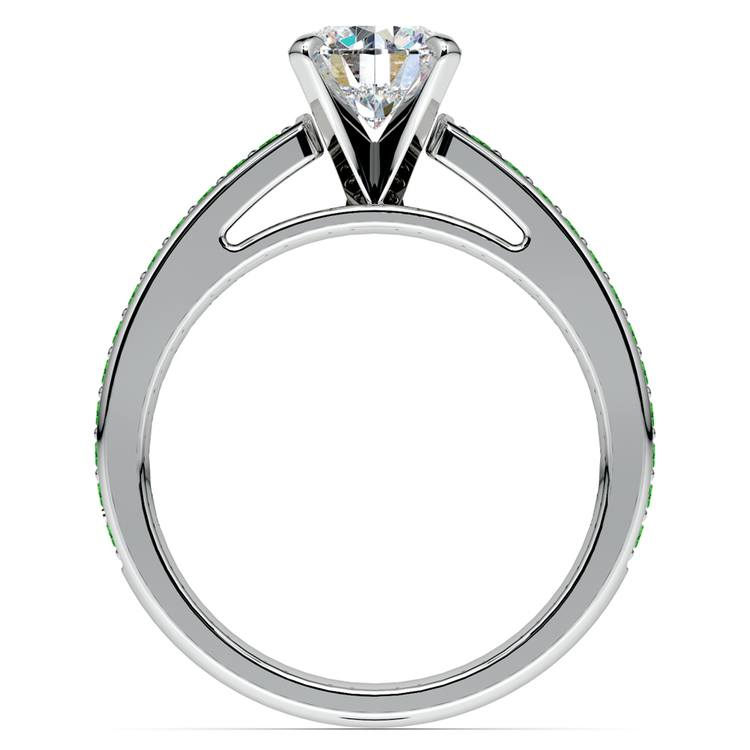 Cathedral Emerald Gemstone Engagement Ring in White Gold | 02
