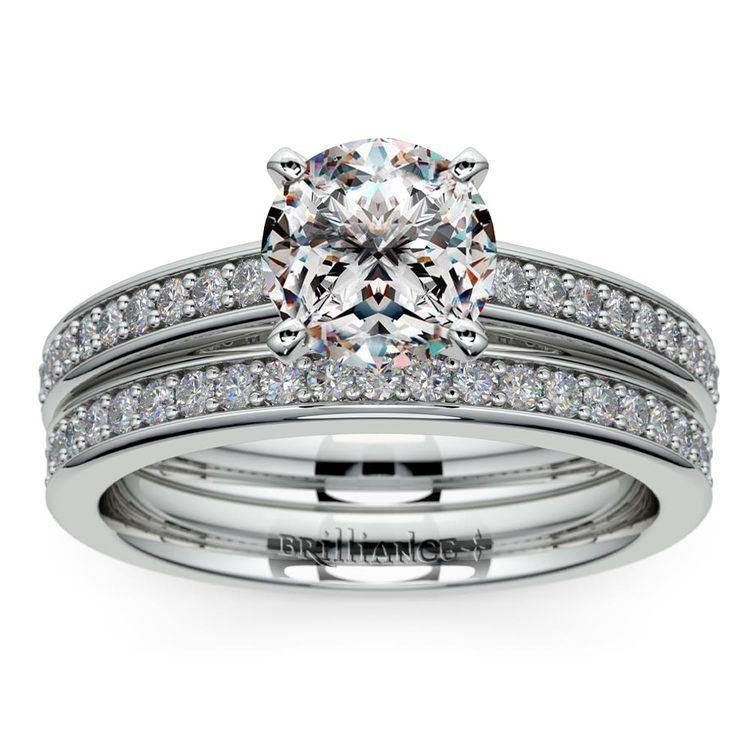 Cathedral Pave Set Diamond Bridal Set In Platinum   01