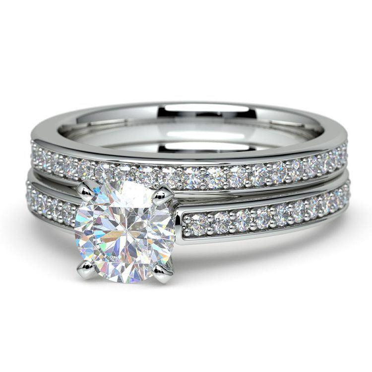Cathedral Pave Set Diamond Bridal Set In Platinum   04