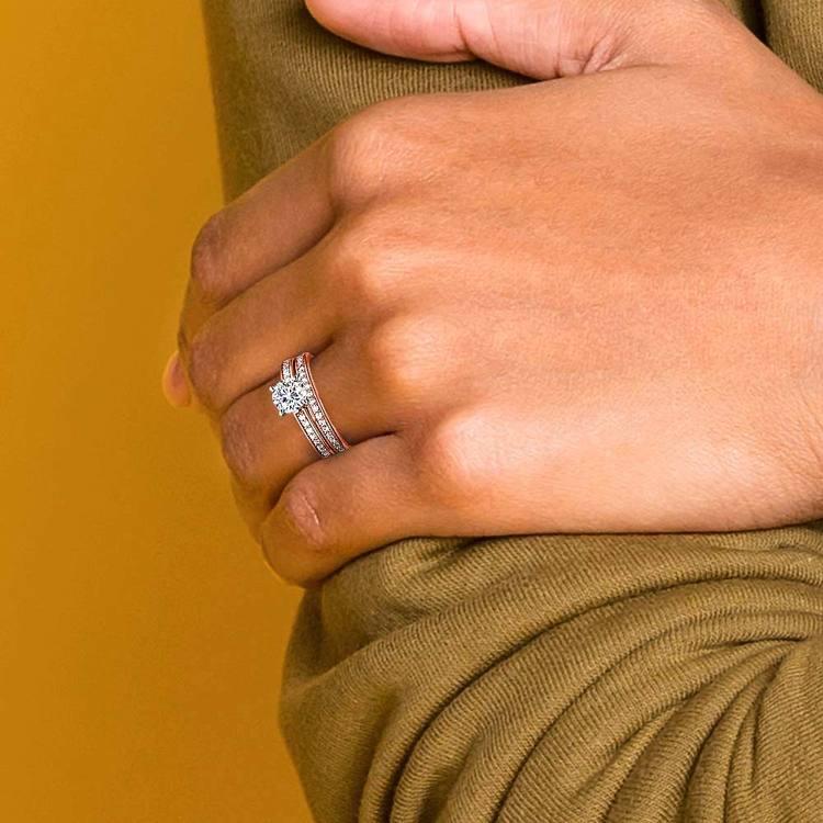 Cathedral Pave Set Diamond Bridal Set In Rose Gold  | 07