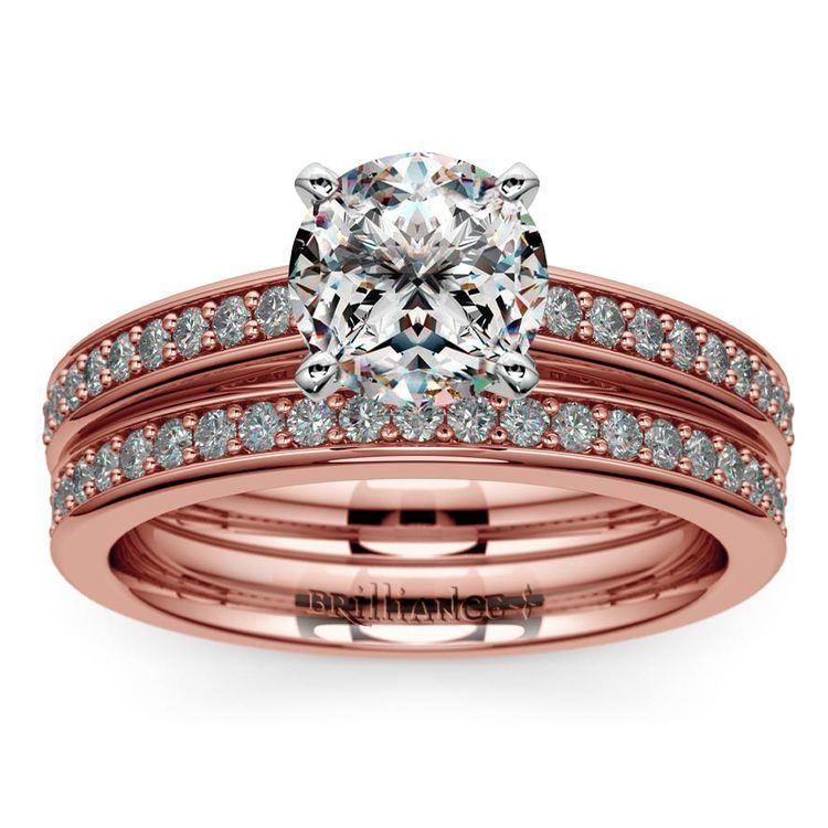 Cathedral Pave Set Diamond Bridal Set In Rose Gold  | 01