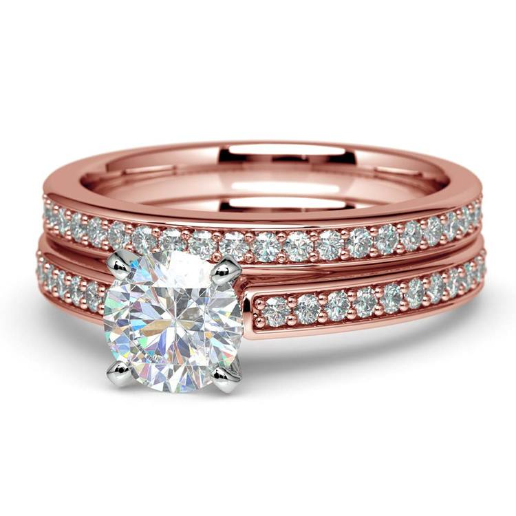 Cathedral Pave Set Diamond Bridal Set In Rose Gold  | 04