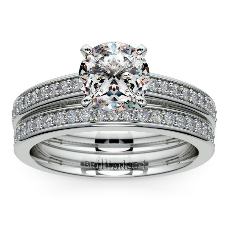 Cathedral Pave Set Diamond Bridal Set In White Gold    01