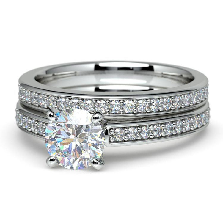 Cathedral Pave Set Diamond Bridal Set In White Gold    04