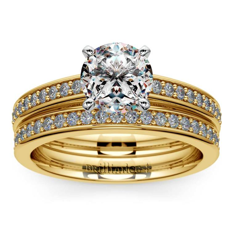 Cathedral Pave Set Diamond Bridal Set In Yellow Gold    01