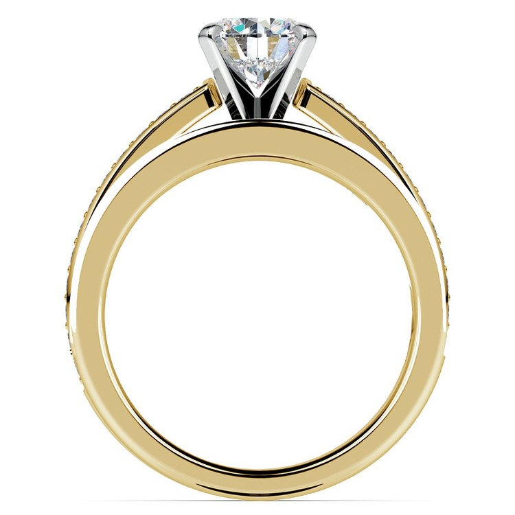 Cathedral Pave Set Diamond Bridal Set In Yellow Gold    02