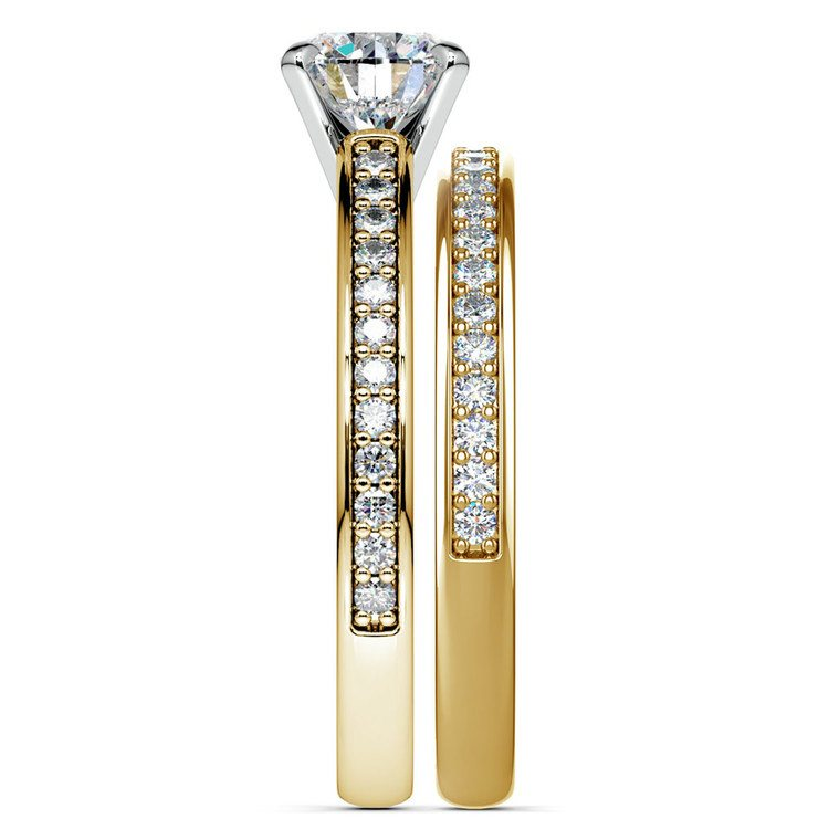 Cathedral Pave Set Diamond Bridal Set In Yellow Gold    03