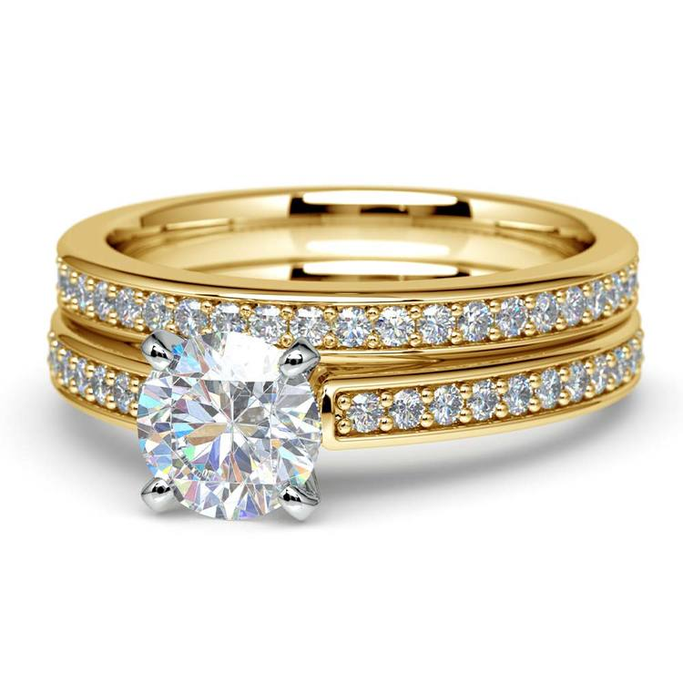 Cathedral Pave Set Diamond Bridal Set In Yellow Gold    04
