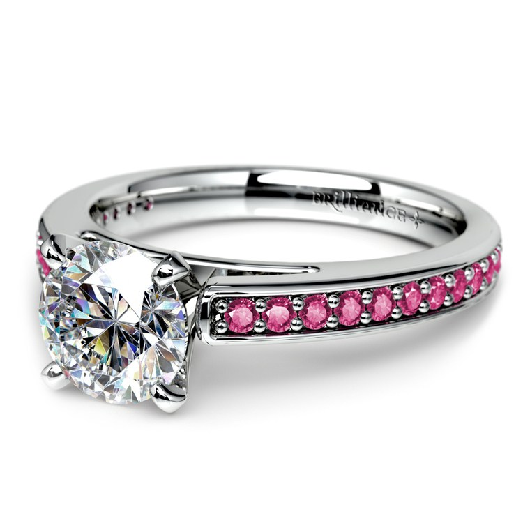 Cathedral Pink Sapphire Gemstone Engagement Ring in Platinum | 04