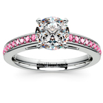 Cathedral Pink Sapphire Gemstone Engagement Ring in White Gold | Thumbnail 01