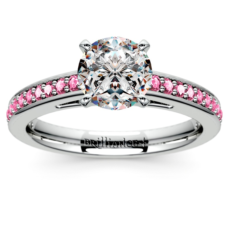 Cathedral Pink Sapphire Gemstone Engagement Ring in White Gold | 01