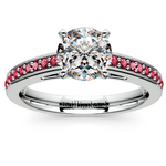 Cathedral Ruby Gemstone Engagement Ring in White Gold | Thumbnail 01