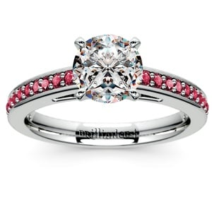Cathedral Ruby Gemstone Engagement Ring in White Gold
