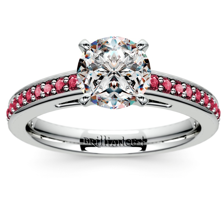 Cathedral Ruby Gemstone Engagement Ring in White Gold | 01