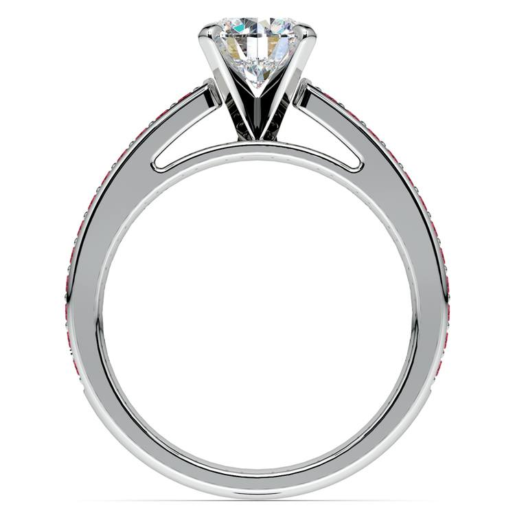 Cathedral Ruby Gemstone Engagement Ring in White Gold | 02