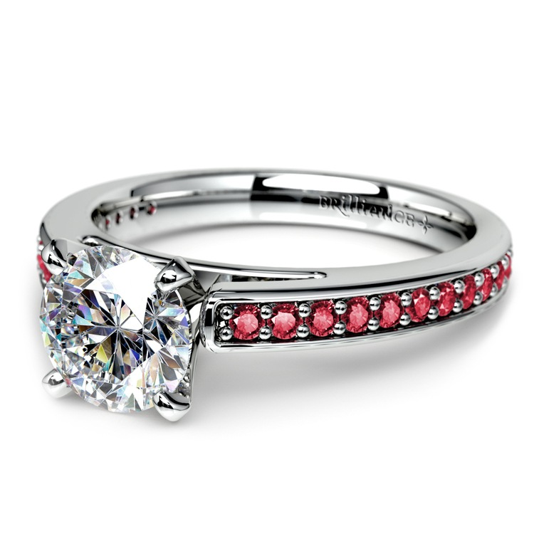 Cathedral Ruby Gemstone Engagement Ring in White Gold | 04