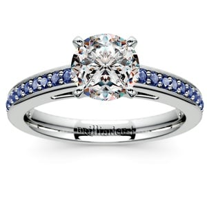Cathedral Sapphire Gemstone Engagement Ring in Platinum