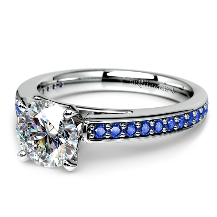 Cathedral Sapphire Gemstone Engagement Ring in Platinum | 04