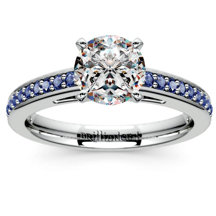 Cathedral Sapphire Gemstone Engagement Ring in White Gold | 01