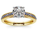 Cathedral Sapphire Gemstone Engagement Ring in Yellow Gold | Thumbnail 01