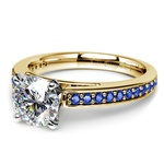 Cathedral Sapphire Gemstone Engagement Ring in Yellow Gold | Thumbnail 04