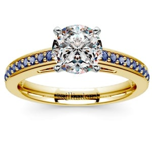 Cathedral Sapphire Gemstone Engagement Ring in Yellow Gold