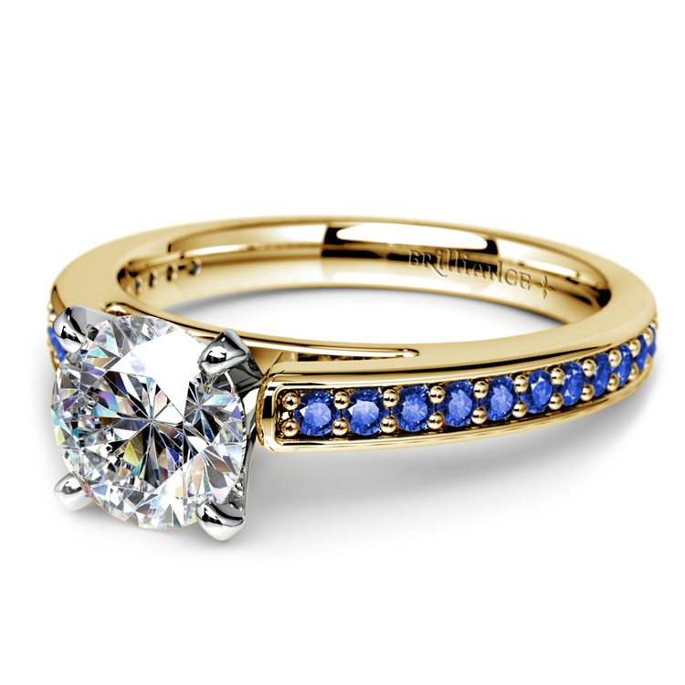 Cathedral Sapphire Gemstone Engagement Ring in Yellow Gold | 04