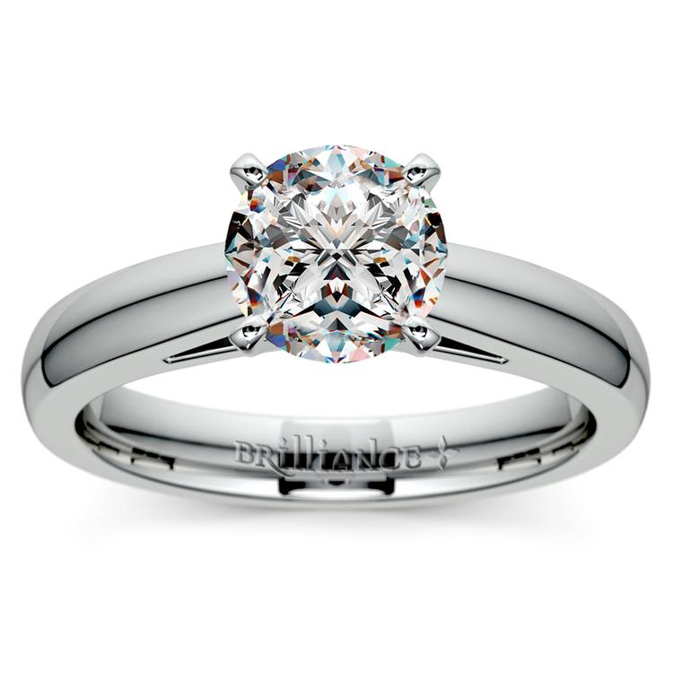 Cathedral Solitaire Engagement Ring in Palladium (3mm) | 01