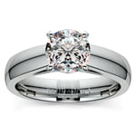 Cathedral Solitaire Engagement Ring in White Gold (4mm) | Thumbnail 01