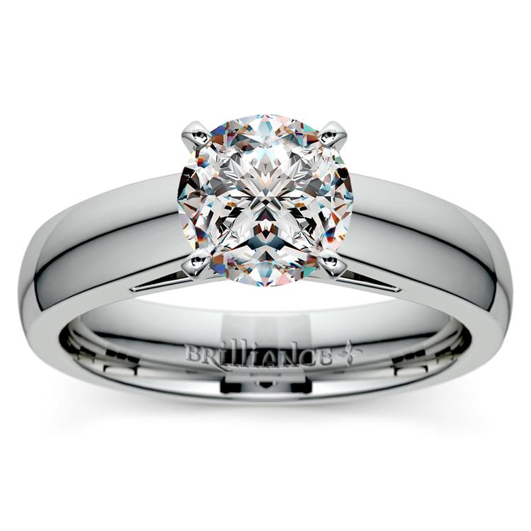 Cathedral Solitaire Engagement Ring in White Gold (4mm) | 01