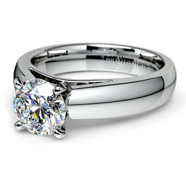 Cathedral Solitaire Engagement Ring in White Gold (4mm) | 04