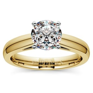 Cathedral Solitaire Engagement Ring in Yellow Gold (3mm)