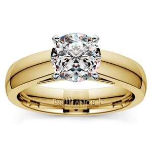 Cathedral Solitaire Engagement Ring in Yellow Gold (4mm)