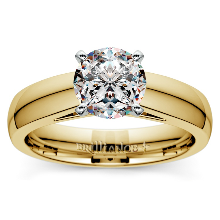 Cathedral Solitaire Engagement Ring in Yellow Gold (4mm) | 01