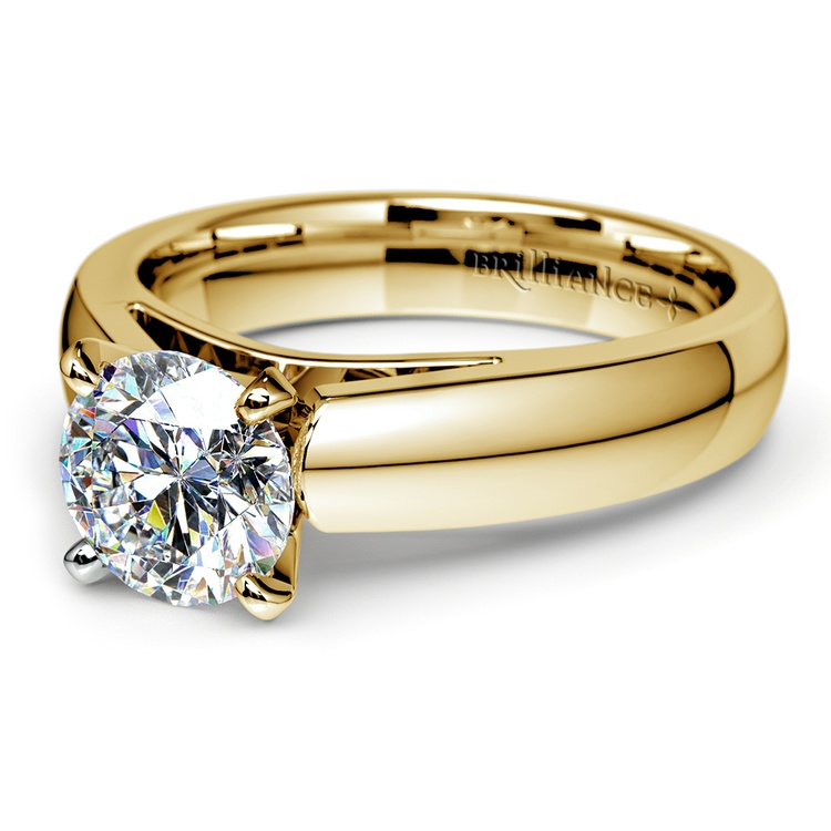 Cathedral Solitaire Engagement Ring in Yellow Gold (4mm) | 04